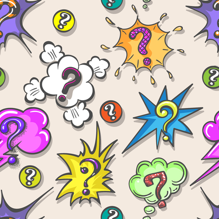Pop art question pattern. Speech bubble question marks seamless background, vector illustraton