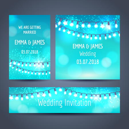Set of invitation cards with christmas garlands on blue backdrop, vector illustration