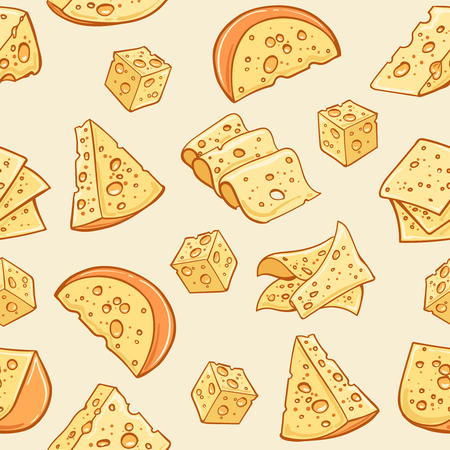 Cheese doodle pattern. Vector supermarket delicatessen eating snack background with pieces of cheese