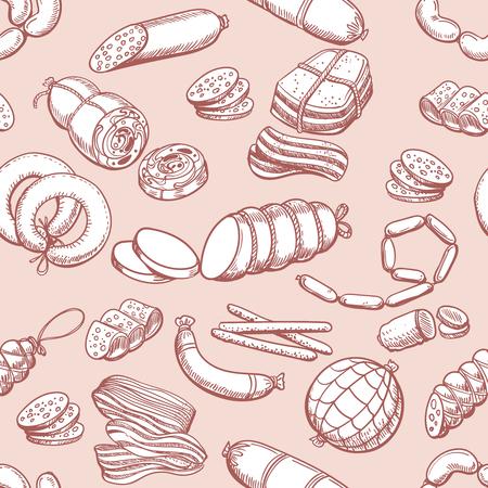 Sausages pattern. Vintage sketch sausage and meatloaf, sliced pork and bacon butcher seamless background Vettoriali