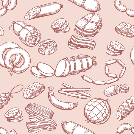 Sausages pattern. Vintage sketch sausage and meatloaf, sliced pork and bacon butcher seamless background Stock Illustratie