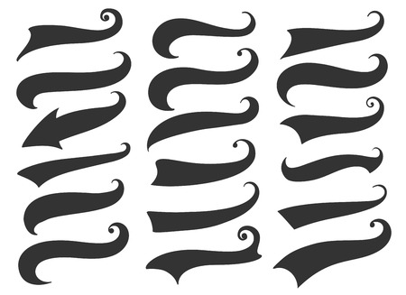 Swash and swoosh. Curly swish tails and sporty plume swirl logo vector elements for retro banners