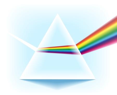 Spektrum-Prisma. Dreieckige Glaspyramide mit dem optischen Lichtstreuungseffekt lokalisiert auf weißen Hintergrund, Vektorillustration.