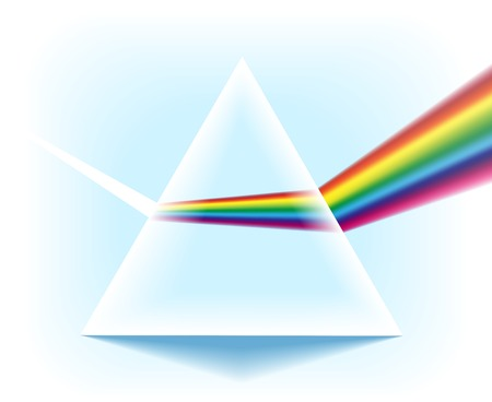 Spectrum prism. Glass triangular pyramid with optical light dispersion effect isolated on white background, vector illustration.