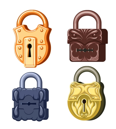 Game metal locks various antique padlock set with keyholes for games isolated on white background.