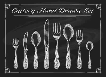 Fork spoon knife on chalkboard. Dinnerware cutlery vintage chalk drawing vector sketch Иллюстрация