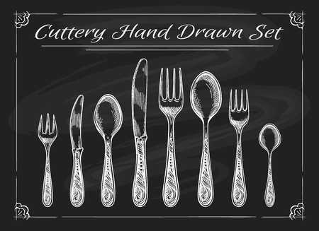 Fork spoon knife on chalkboard. Dinnerware cutlery vintage chalk drawing vector sketch Illustration