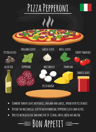 Pepperoni pizza recipe. Healthy italian salami pizza toppings for home chef menu chalk board vector illustration