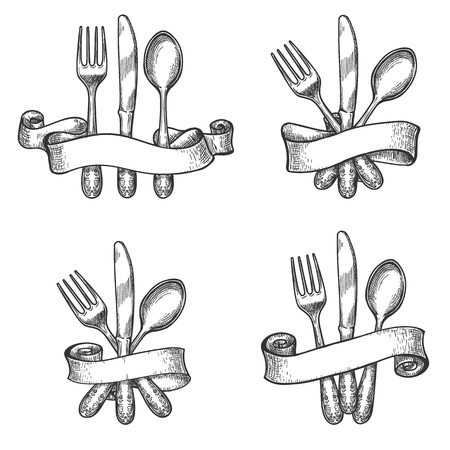 Vintage dinner table silverware set with knife and fork utensils in retro ribbons vector drawing