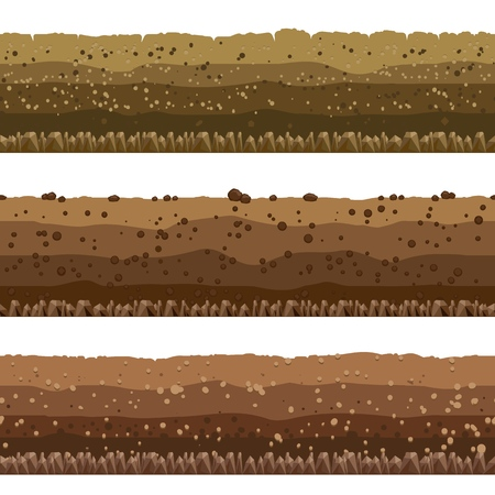 Seamless underground earth surface, dirt layers or layered clay with rocks vector illustration
