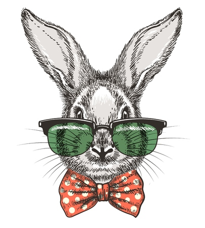 Rabbit in glasses. Vintage hand drawn cute bunny face doodle sketch portrait with glasses and bow tie vector illustration