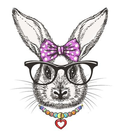 ファッションバニーの女の子。水玉弓とビーズベクトルイラストでかわいい落書き小さなウサギの女の子の肖像画 写真素材 - 94487851
