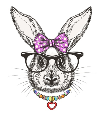 Fashion bunny girl. Cute doodle little rabbit girl portrait with polka dots bow and beads vector illustration Stock Illustratie
