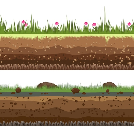 Underground layers. Dirt and clay vector seamless ground background isolated on white background