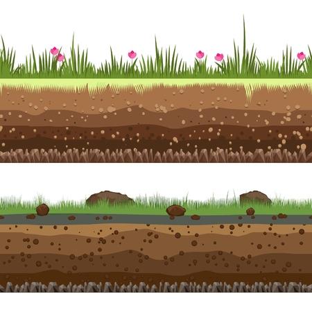 Untergrundschichten. Nahtloser Grundhintergrund des Schmutz- und Lehmvektors lokalisiert auf weißem Hintergrund