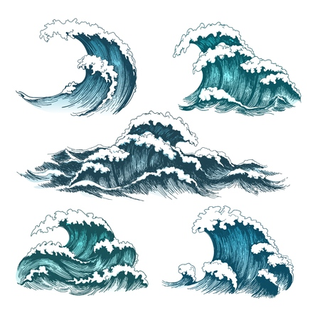 Vintage cartoon ocean tidal waves isolated on white background for surfing and seascape, vector illustration