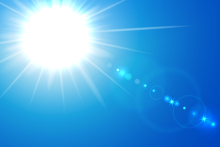 Vector illustration of blue sunny background with sun and lens flare