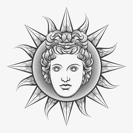 Apollo sun. Antique roman apollo sun face god engraving vector illustration or etching isolated on white background