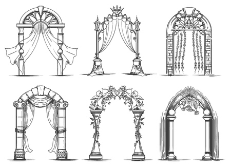 Wedding arches sketch. Vintage ink doodle arch entrance set for marriage ceremony vector illustration