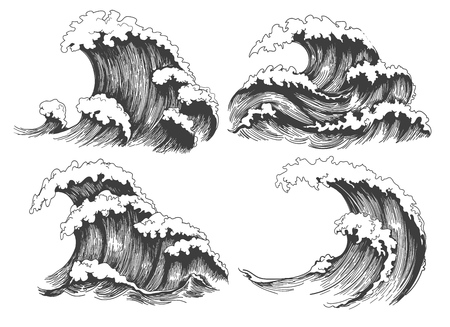 Sea waves sketch. Ocean wave set hand drawn doodle illustration, vector black and white icons Vettoriali