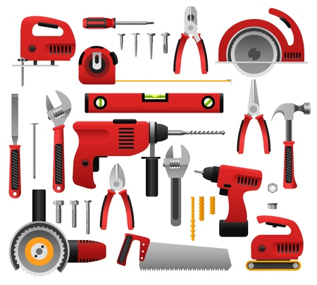 Construct tool icon set in cartoon illustration.