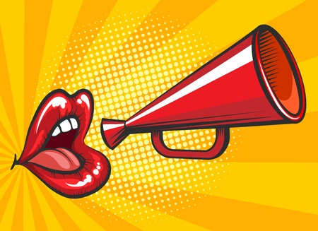 Retro bullhorn or megaphone vector illustration with beautiful and sexy female mouth for magazine advertising.