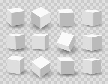Three-dimensional modeling of white cubes vector illustration.