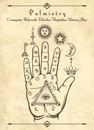 Quiromancia vintage. Símbolos ocultos esotéricos en la mano, palma de la ilustración de vector retro de profecía
