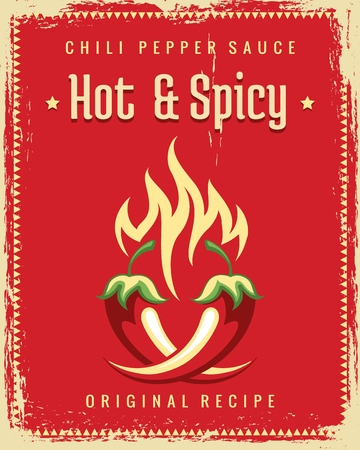 Chili pepper poster. Vintage traditional mexican spicy poster, hot chili pepper food restaurant graphics. Illustration