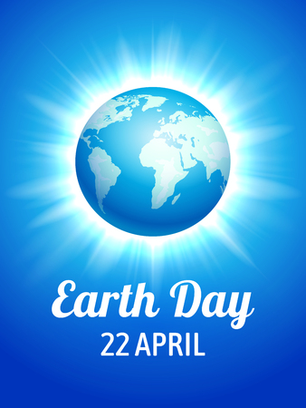 Earth Day poster. Vector illustration of blue globe planet on the flash star background. Illustration