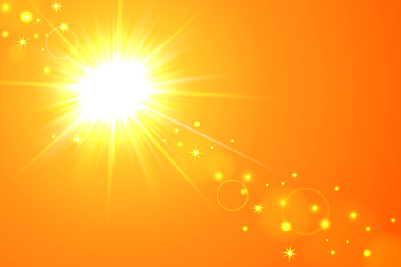 Vector illustration of yellow sunny background with sun and lens flare.  イラスト・ベクター素材