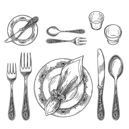 Table setting drawing. Hand drawing dinnerware with napkin in ring and plate, decorative fork and knife sketch and glass on table for etiquette formal restaurant dining setting, vector illustration Иллюстрация