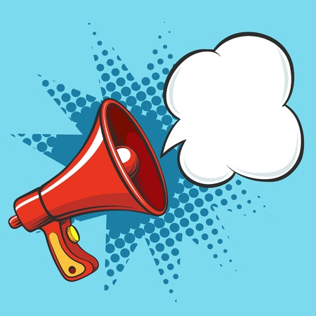 Cartoon megaphone. Loudspeaker business announce vector illustration, retro loud speaker isolated on white background Иллюстрация