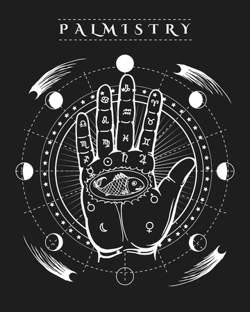 Esoteric prophecy poster. Occult human hand fish tattoo and palmistry etching symbols vector illustration
