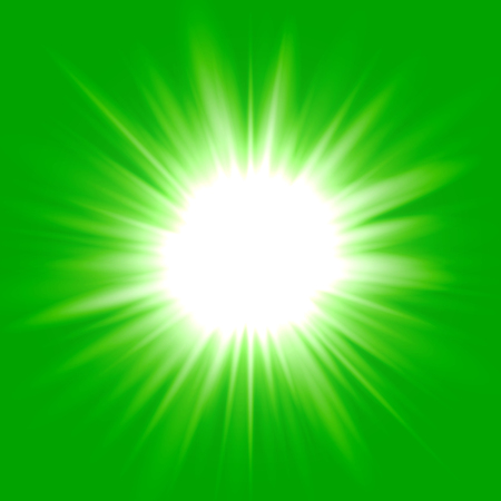 Green flash star background, white light rays vector illustration Illustration