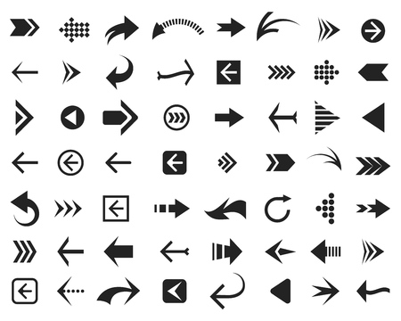 Arrow icons. Arrows signs for download, cycle and motion buttons and computer cursors