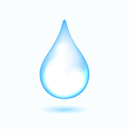 Clear water drop on the white background, vector illustration