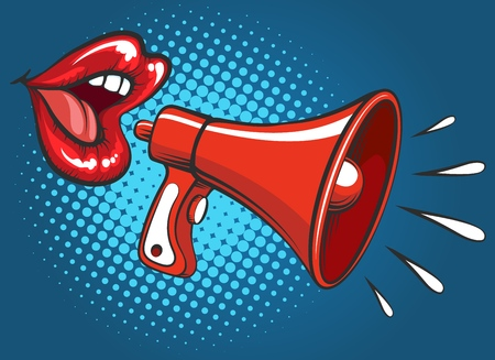 Girl megaphone screaming. Attractive female mouth with sensual pretty girl lips with loud hailer retro popart vector illustration