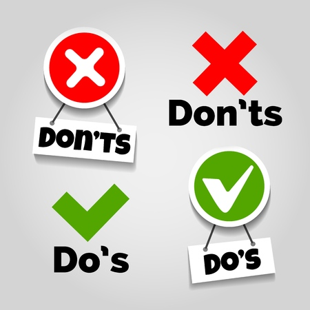 Doing recommendation and mistake color signs with text box for guidelines, tests and consumer rights vector illustration