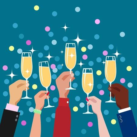 Tostado felicitaciones manos con copas de champán diversión decorativa celebración fiesta fondo vector ilustración