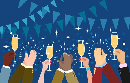 Cheering hands. Clapping and champagne toasting congratulations hands vector illustration