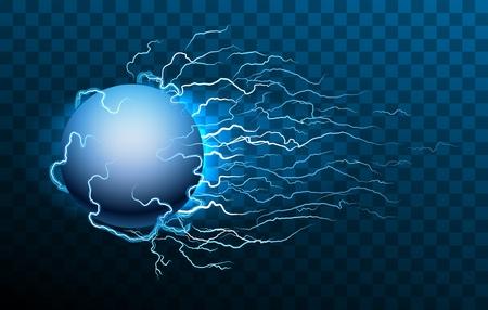Lightning storm ball. Ball lightning on transparent background, vector blue abstract magic plasma energy burst