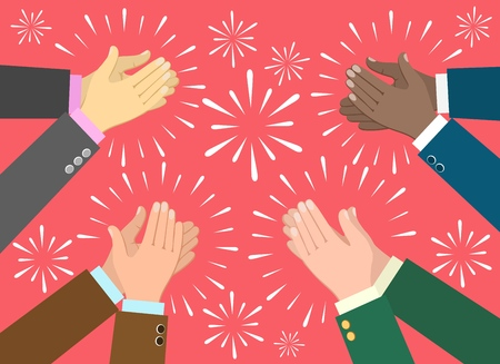 Applause. Clap hands ovation vector illustration, business recognition, congratulation and appreciation concept Vettoriali