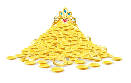 Pile of treasure. Vector ancient gold heap with golden crown isolated on white background for casino and games