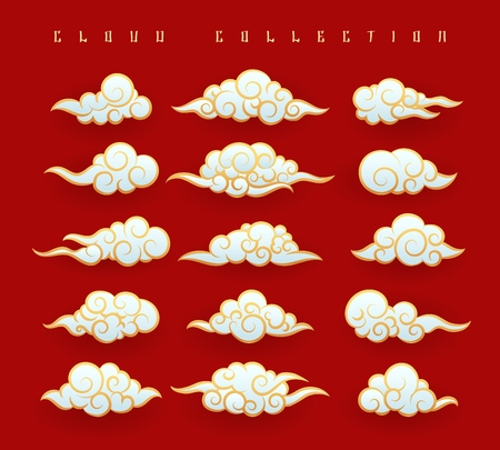 Oriental clouds. Vector chinese or japanese water clouds graphic set on red background for oriental design