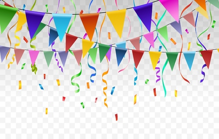 Flags and confetti garlands. Vector paper bunting and triangular pennant flag garlands vector transparent background for festive or jubilee events