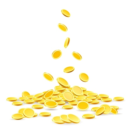 Coins heap. Gold coins money pile vector illustration, ancient currency treasure isolated on white background