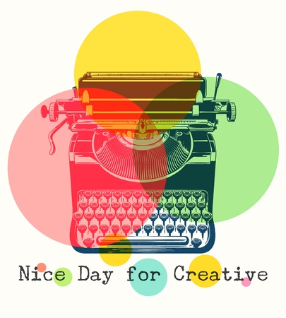 Mono colors retro poster with typewriter. Antique office typewriter in vintage drawing style, creativity writing concept, vector illustration Çizim