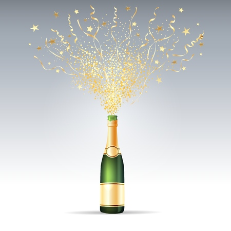 Champagne confetti party. Opening champagne bottle exploding frothy serpentine and confetti for award or holiday background vector illustration