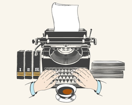 Typewriter blogging or copywriting concept. Retro type writer machine with paper old style drawing vector illustration Illustration